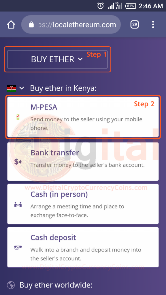 Buy and Sell Ethereum in Kenya Step 1 and Step 2