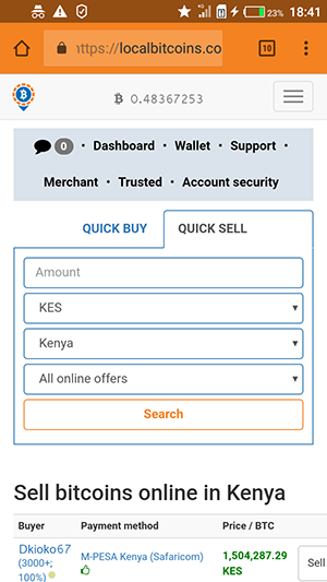 How to withdraw Bitcoins to MPESA Step 4