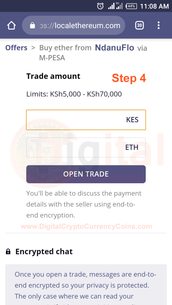 Open Buy Ethereum from your Selected Ethereum Kenyan Trader who deals in MPesa
