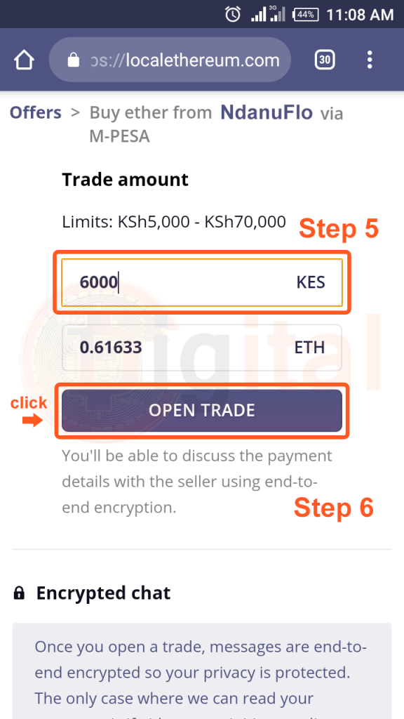 Specifying amount to Ethereum you want to buy in Kenya Shillings then clicking Open Trade button