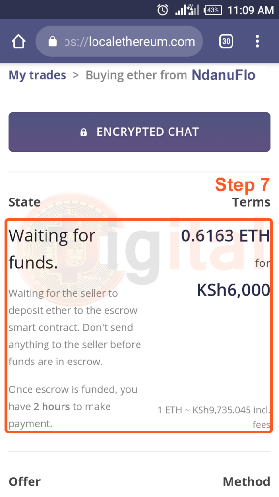 Waiting for Kenyan Ethereum Trader to Fund Escrow before you Send them Money in Mpesa