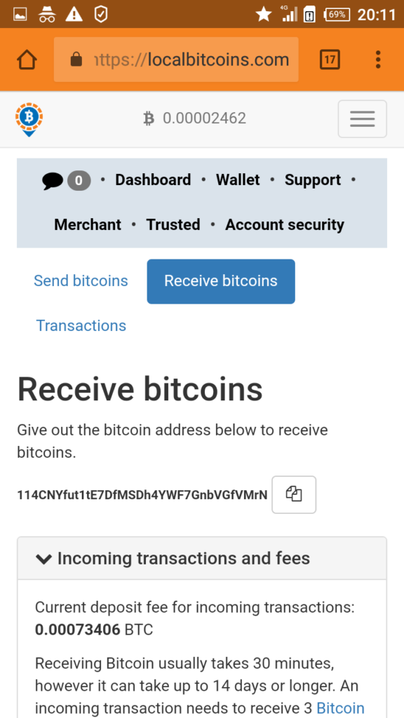Bitcoin Wallet Receiving Address