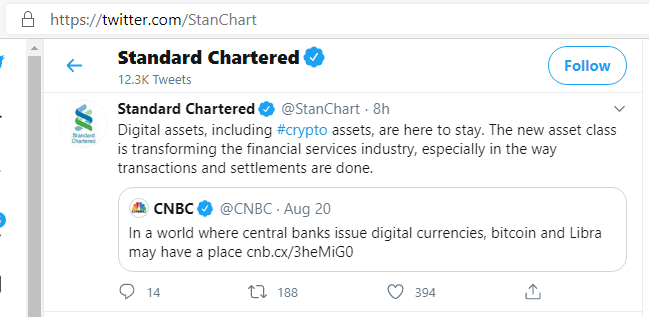 Standard Chartered Bank acknowledges that Crypto assets like Bitcoin are becoming part and parcel of our every day lives