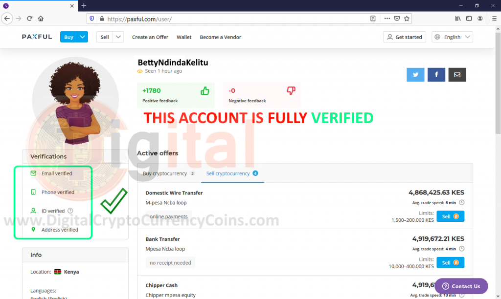 Paxful Bitcoin Account in Kenya which is FULLY VERIFIED